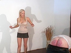 punishment with belt and cane by blonde mistress