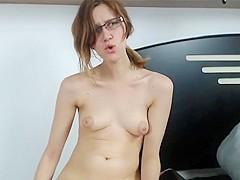 Spectacled cam-slut with puffy titties