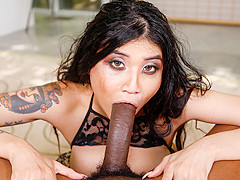 Brenna Sparks in Asian Mouth Vs Black Cock - Throated