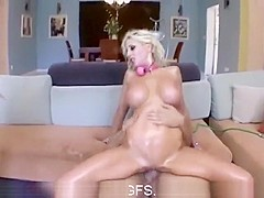 Exotic pornstar in crazy blonde, threesome porn scene