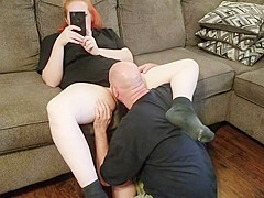 4k- eating redhead sloppy pussy  black socks foot fetish