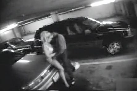 Parking garage sex on security camera with a charming blonde