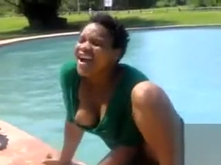 Black women swimming and pissing in the pool