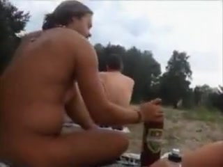 Nudist amateur couple doing sex at the beach