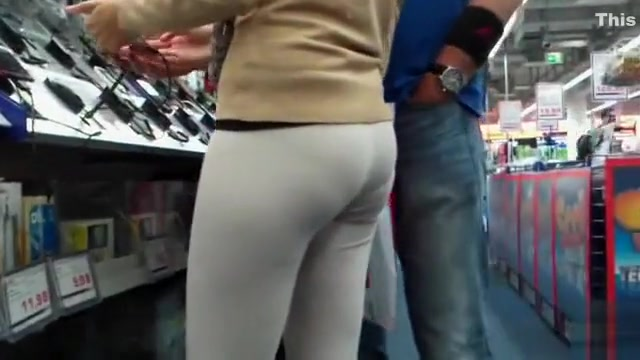 Female shopaholic in skintight pants