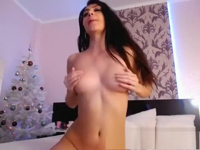 Sexy brunette babe fingers and toys pussy