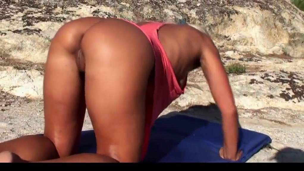Blonde milf working out naked on the beach part 3
