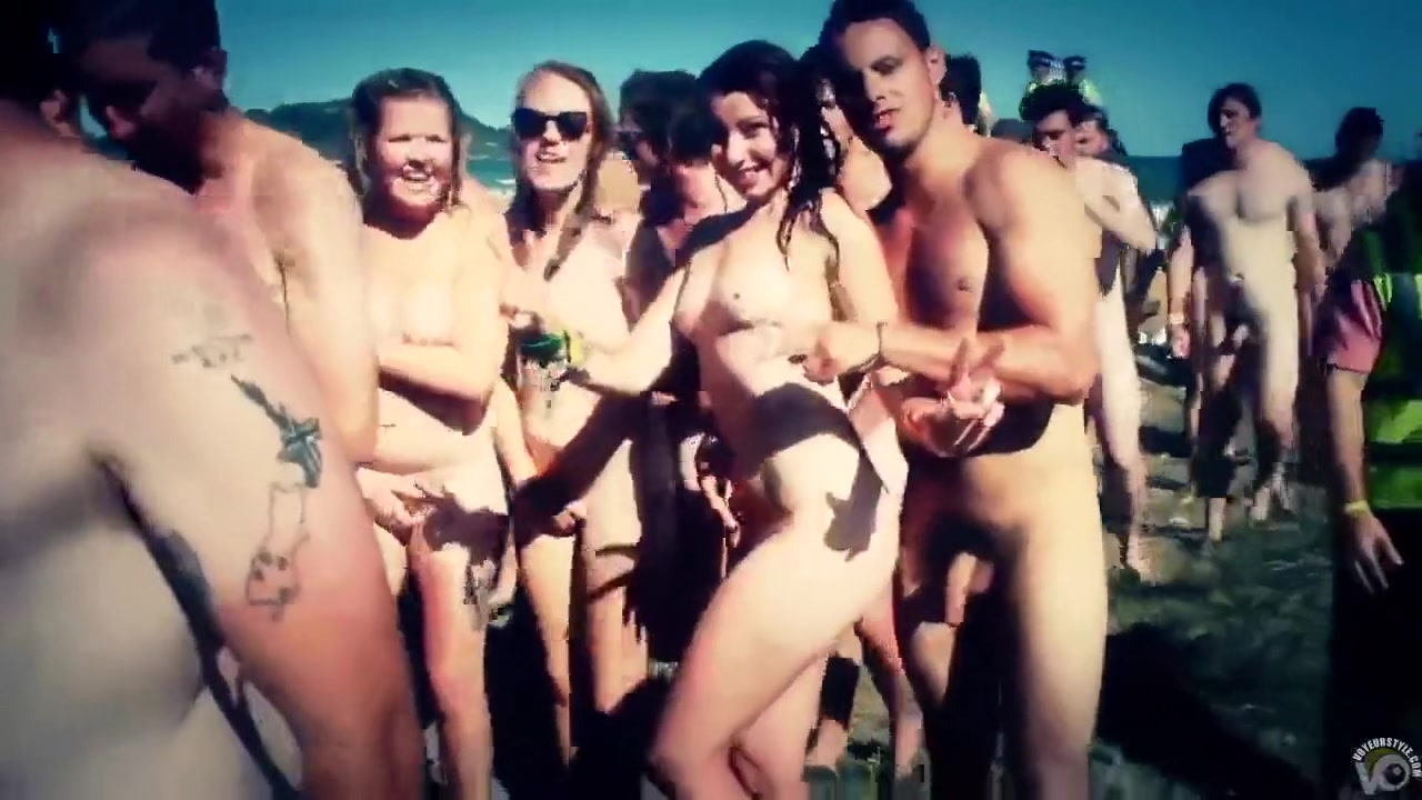 Huge nudist party with hundreds in the water