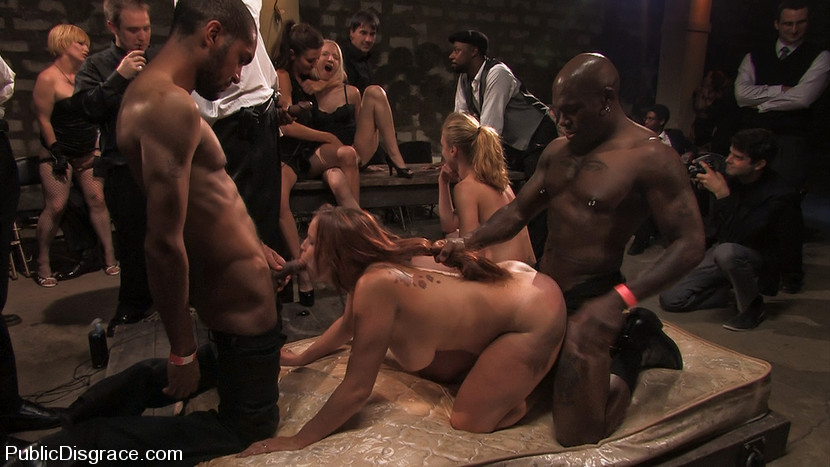 Local Amateur Tries Bdsm For The First Time Ever And Is Rewarded With 4 Hard Black Cocks - PublicDis