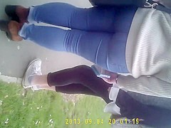 Curvaceous streetwalker with a phat ass in tight jeans is s