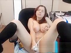 Girl with huge tits drops her panties and masturbates