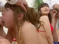 Incredible Japanese chick Koharu Yuzuki, Michiru Kobayashi, Aya Kiriya in Exotic Group Sex, Blowjob