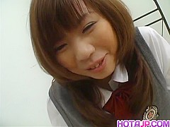 Slutty schoolgirl babe Misa Kurita gets her gaping pussy pumped hard - More at hotajp.com
