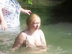 Grannies in See Through Clothes Bathing in Public - Voyeur
