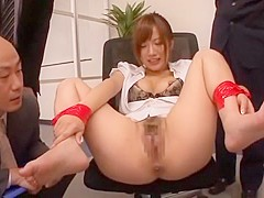 Fabulous Japanese whore Rio Fujisaki in Exotic Gangbang, Handjobs JAV movie