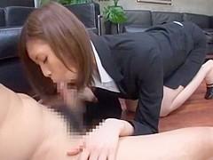 Horny Japanese model Yuria Shima in Incredible Blowjob, Office JAV video