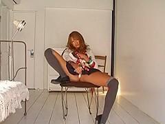 Best Japanese girl Rio Sakura in Incredible Stockings, Masturbation JAV clip