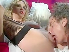 Nubile Blond In Fishnets Bangs And Blows
