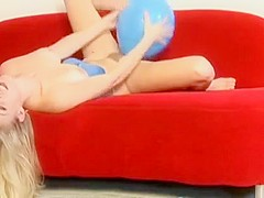 Blonde Allison Plays With Bouncy Blue Balloons