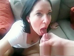 Cock hungry babe brunette does blowjob to fat dick in pov