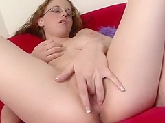 Glasses Model Holly Adores Pleasuring Herself On Videocamera