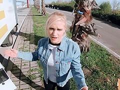 Slutty Rossella Visconti fucks in a moving truck for a ride