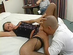 Lusty Courtney Cummz wears hot fishnets as her twat gets wrecked