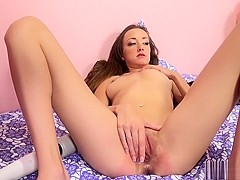 Sexy slender brunette Victoria Rae Black takes a big dick for a ride