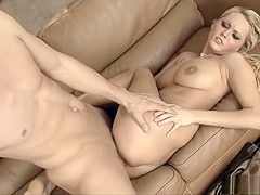 Buxom babe has a hung guy plowing her shaved pussy in every position
