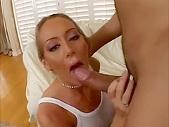 Gorgeous blonde Milf craves big dick and gets one to give deep throat and fuck, with anal