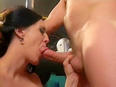 Sexy brunette stripper sucks a big dick and has it roughly fucking her juicy holes