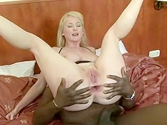 Busty blonde milf Monik needs a huge black cock deep in her anal hole