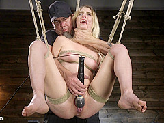 Cadence Lux,The Pope in All Natural Cadence Lux Torment in Rope Bondage and Squirting Orgasms! - The