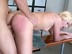 Sexy Megan Moore gets her fiery peach drilled hard in the locker room