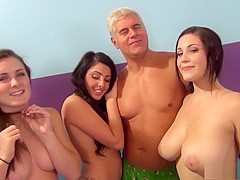 Four attractive babes have fun with sex toys and enjoy two hard dicks