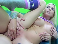 Bodacious Christie Stevens fucks a long rod and gets a mouthful of cum