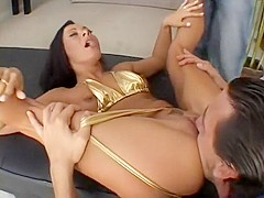 Attractive brunette with a hot slender body gets fucked by two guys at the same time