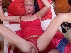 Naughty blonde deepthroats a large cock and gets pounded rough in POV