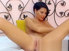 Busty babe takes two big dildos in all holes