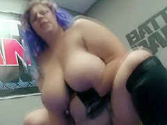 Hot plumper with huge natural tits enjoys a hard banging in the ring