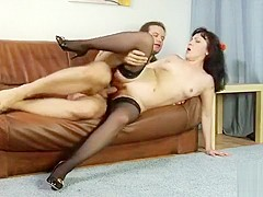 Sexy mature woman in lingerie Natalya gets her wet pussy drilled deep