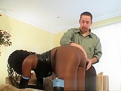 Stunning black babe with sexy legs has a white stud drilling her ass