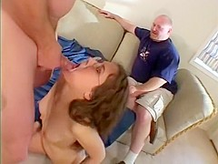 Nerdy housewife gets drilled by two big cock studs and eats jizz