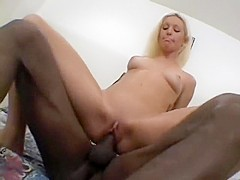Sensual blonde with lovely tits Kelly Jensen can't resist a black cock