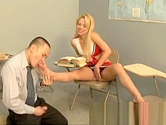 Buxom blonde cheerleader flaunts her body and engages in ballbusting