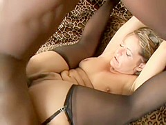 Chubby housewife in lingerie gets destroyed by a black schlong