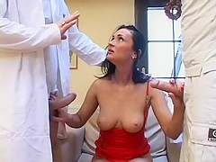 Dark haired babe with big tits gets her holes nailed rough by two guys
