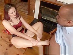 Distinctive brunette has a black dude licking her peach and her feet