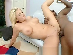 Adorable blonde Staci buries a huge black cock deep inside her snatch