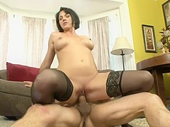 Roxanne Hall bumps and grinds on the floor with a stiff prick